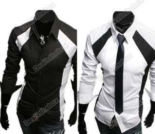 New Mens Casual Luxury Stylish Long Sleeve Slim Shirts Two Color Three