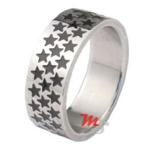 SUPER STAR Wide Band Stainless Steel Ring sz 8 NEW hot