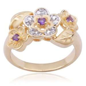18k Yellow Gold Plated Sterling Silver Amethyst and Diamond Accent
