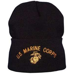 & Gold US Marine Corps Embroidered Watch Cap (Army, Military, Police