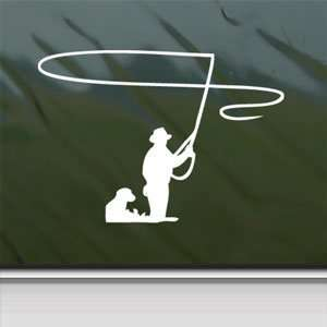 Fly Fishing White Sticker Car Laptop Vinyl Window White