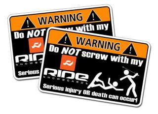 Funny RIDE Snowboard warning sticker decal Snow Ski