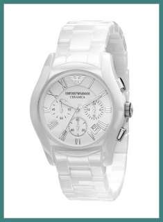 New Mens EMPORIO Armani WHITE Ceramic WATCH AR1403 Chr