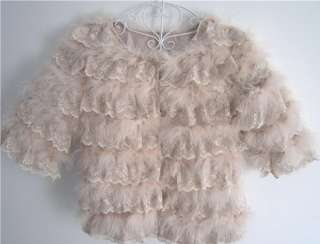 Ladys Fashion Genuine Real ostrich feather+Lace FUR warm short coats