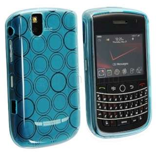 FOR BLACKBERRY TOUR 9630 LCD SCREEN PROTECTOR+BLUE TPU RUBBER SKIN