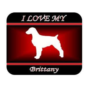 I Love My Brittany Dog Mouse Pad   Red Design