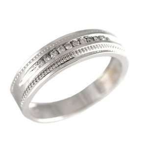 14K White Gold Round cut Diamond Men & Womens Couple Wedding Ring