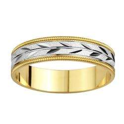 tone Gold Mens Milligrain Leaf Design Wedding Band