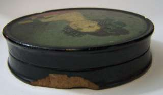 Early American Federal Period Folk Art Portrait Painting Snuff Box