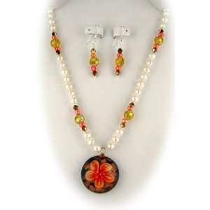 Murano Glass Orange Flower Pendant Freshwater Pearls Sterling Silver