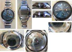 Seiko 2 in one chronograph rare vintage nice blue dial