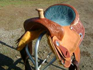 15 TURQUOISE SEAT WESTERN BARREL RACER RACING SHOW SADDLE HAND TOOLED