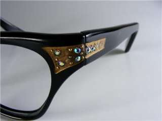 BLACK GOLD & RHINESTONES UNUSUAL CAT EYE GLASS EYEGLASS FRAMES