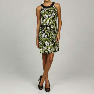 Jessica Howard Womens Petite Lime Pleated Neck Dress