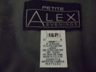 Alex Evenings Petite Olive Green 2 Pc Gown Dress 14P