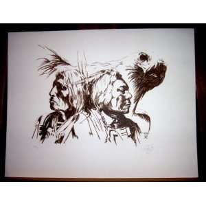 Native Americans & Eagle Lithograph Southwestern Art Signed & Numbered