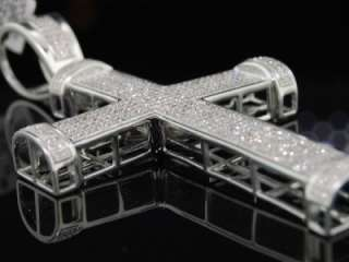 MENS WHITE GOLD FINISH DIAMOND PAVE CROSS CHARM PENDANT