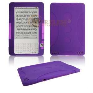 Kindle 2 Combo Solid Purple Silicon Skin Case + LCD