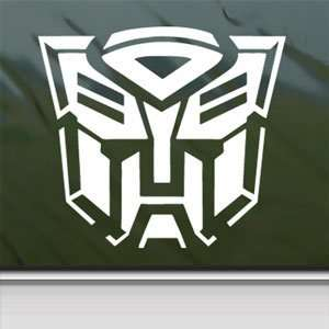 Transformers Autobot White Sticker Car Vinyl Window Laptop White Decal