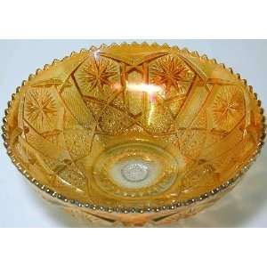 Imperial Stars and File marigold carnival glass bowl