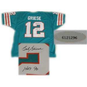 Bob Griese Autographed Teal Custom Jersey with HOF 90