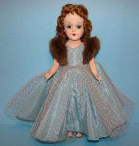 Mary Hoyer Doll in Tagged Blue Formal Gown Fur 1957 58