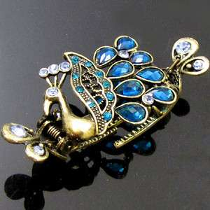 Item  1pc rhinestone antiqued peacock crab hair claw clip