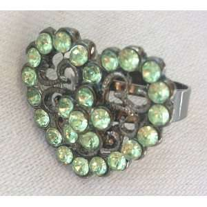Large Green and Bronze Heart Shaped Crystal Stone Fashion Costume Ring
