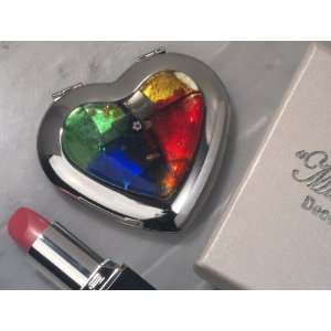 Murano Art Deco Collection Heart Compact Mirror   Set of 5