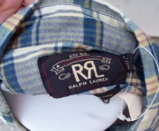Ralph Lauren mens RRL plaid shirt large $180 nwt blue