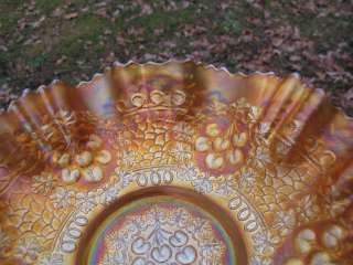 Antique FENTON LARGE CHERRY CIRCLES MARIGOLD Carnival Glass 3n1 Bowl
