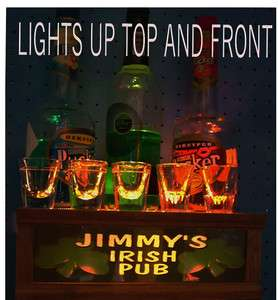 lighted shot glass display / bar sign *PERSONALIZED IRISH PUB* solid