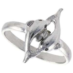 Sterling Silver Diamond Cut Double Dolphin Ring, size 7