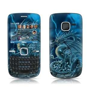 Nokia C3 Skin Cover Case Decal Dragon Skulls Blue