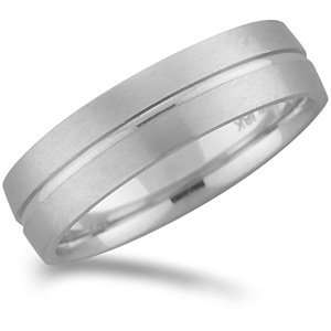 Gold Promise Wedding Band with Buff Finish and Center Groove Jewelry