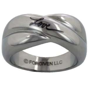 Etched Fashion Love Cursive Stainless Steel Ring size 10