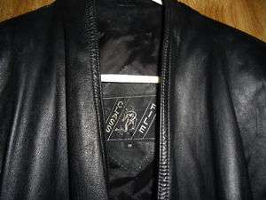 Class File Womens Black Genuine Leather Jacket Size Med