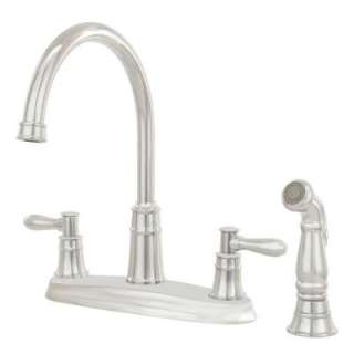 Pfister Harbor 2 Handle High Arc 4 Hole Kitchen Faucet with Side Spray