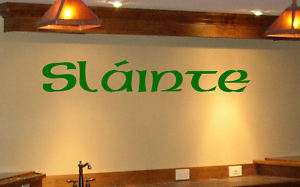 Bar Wall Decal Graphic Slainte Irish Celtic Cheers A3