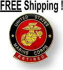 MARINE CORPS RETIRED Brass PIN Lapel Hat Tack US