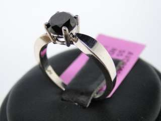 CT WOMENS WHITE GOLD FINISH BLACK DIAMOND ROUND SOLITAIRE