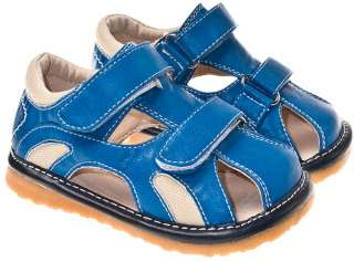 Boys Toddler Leather Squeaky Shoes Sandals Blue & Cream