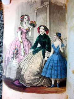 1850 GRAHAMS MAGAZINE,COLOR ILLUSTRATIONS,PRE CIVIL WAR,FASHION DRESS