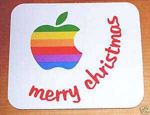 Apple Computer Rainbow Logo Merry Christmas Mouse Pad