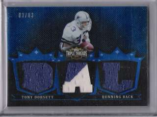 2007 TRIPLE THREADS TONY DORSETT COWBOYS JERSEY #ED 3/3