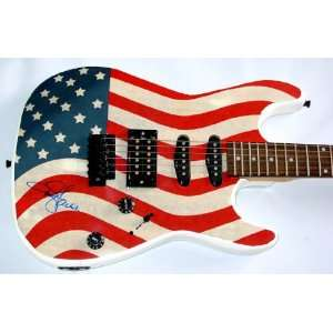 Toby Keith Autographed Signed Flag Guitar & Flawless Proof