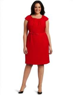AK Anne Klein Womens Plus Size Double Weave Dress