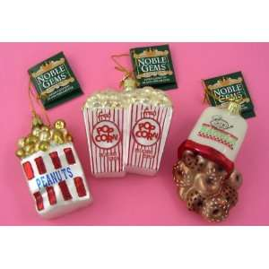 POPCORN PEANUTS BAGELS Retro Noble Gems GLASS Ornaments