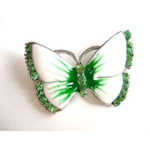 Enamel Peridot Crystal Rhinestone Butterfly Fashion Jewelry Pin Brooch