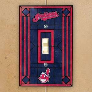Cleveland Indians Navy Blue Art glass Switch Plate Cover